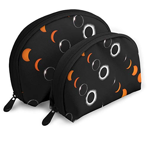 Total Solar Eclipse Makeup Bag Set For Travel & Daily Storage - Shell Shape Handy Cosmetic ()