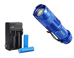 FINIGO Mini 7W 300LM Led Flashlight Torch Adjustable Focus Zoom Light (With 14500 Batteries and Charger) from FINIGO