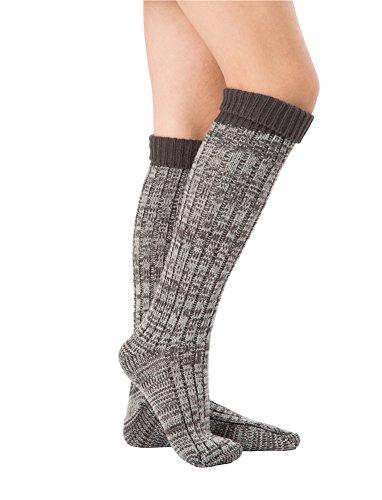 SherryDC Women's Ribbed Knit Knee High Boot Socks Winter Long Leg Warmers Stockings Dark Grey Free (Rib Boot Socks)