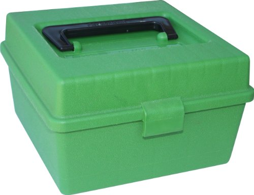 MTM 100 Round Deluxe Handled Magnum Flip-Top Rifle Ammo Case (Green)