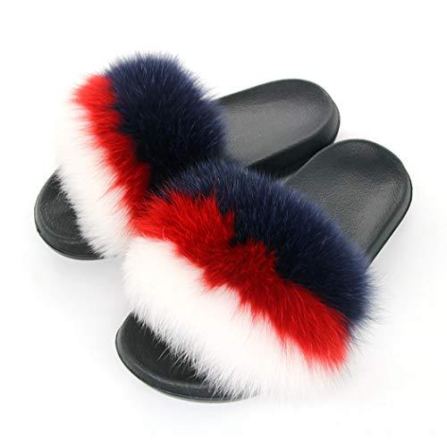 Peluche Home Coeur Diapositives 03 De Réel Fluffy Femmes Mélangées Couleurs Pantoufles Spring Chaussures Forme Fourrure En Sandales Design EUECq