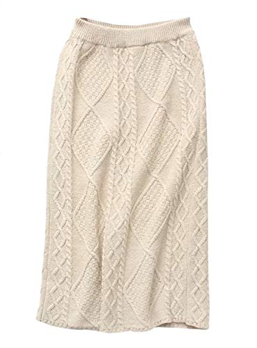 Yimoon Women's Solid Elastic Waist Stretchy Sweater Knit Pencil Skirts with Waist Belt (Beige, One Size) ()