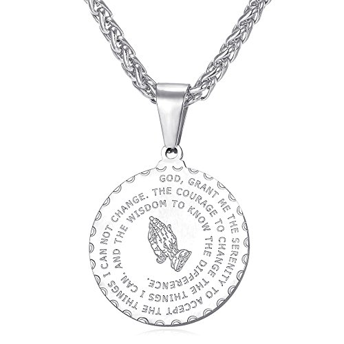 Praying Hands Prayer Box - U7 Bible Verse Prayer Necklace with Free Chain Christian Jewelry Stainless Steel Praying Hands Coin Medal Pendant, Religious Gift for Men Women