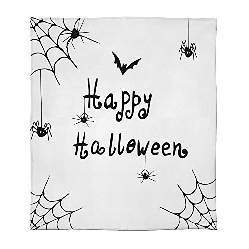 C COABALLA Warm Flannel Blanket,Spider Web,for Folding Bed Crib, Stroller, Travel, Couch and Bed,Size Throw/Twin/Queen/King,Happy Halloween Celebration Monochrome Hand Drawn Style]()