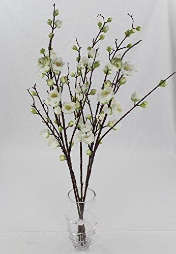 Kunstpflanze Blütenzweig - 5 Stück weiß