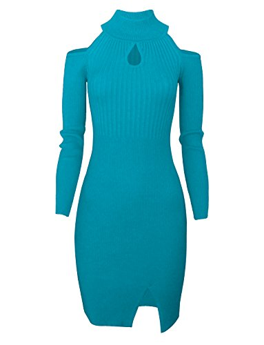 - Tom's Ware Women Casual Slim Fit Knit Front Keyhole Sweater Bodycon Dress TWCWD076-TEAL-US M