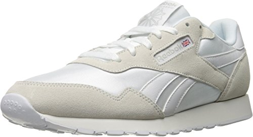 Reebok Royal Nylon Classic Fashion Sneaker, White/White/Steel, 9.5 M US (Nylon Footwear White)