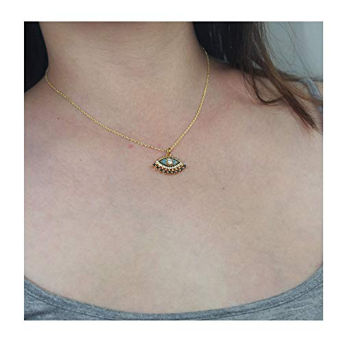 (DeScount Girls Gold Turquoise Evil Eye Necklace,Clear/Black Cubic Zircon Turquoise Micro Paved Dainty Blue Evil Eye Pendant Necklace,Eye with Eyelash Pendant Necklace for Women)