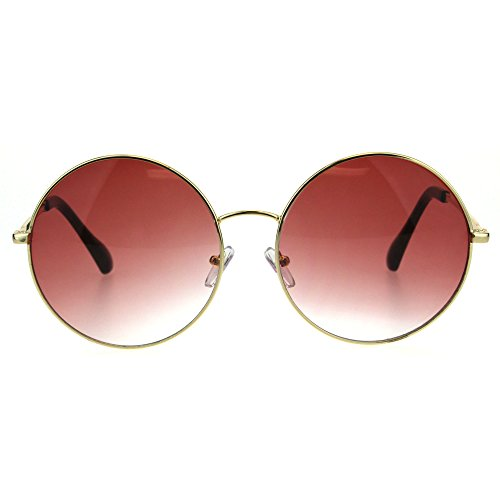 Classic Oversize Joplin Style Hippie Round Circle Lens Sunglasses (Gold Burgundy, 60) -