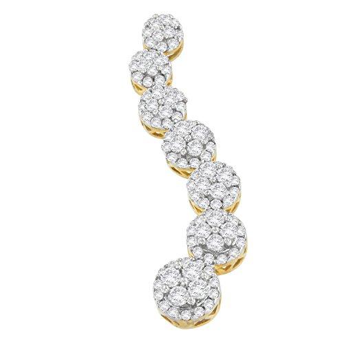 Original Classics 10K Yellow Gold Round Cut Diamond Journey Circle Pendant Necklace (1.00 cttw, H-I Color, I1-I2 ()