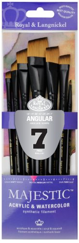 Majestic Royal Langnickel Short Handle Paint Brush Set, Angular, 7-Piece from Majestic