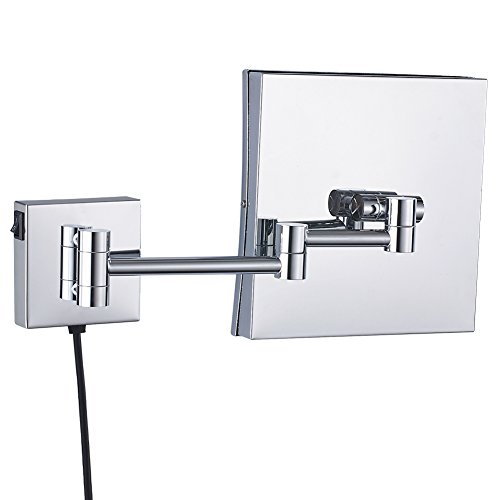 GURUN Wall Mounted Square Magnifying Mirror with LED Lighted,8.5 Inch,3x Magnification,Polish Chrome M1802D(8.5in,3x) by GURUN (Image #2)