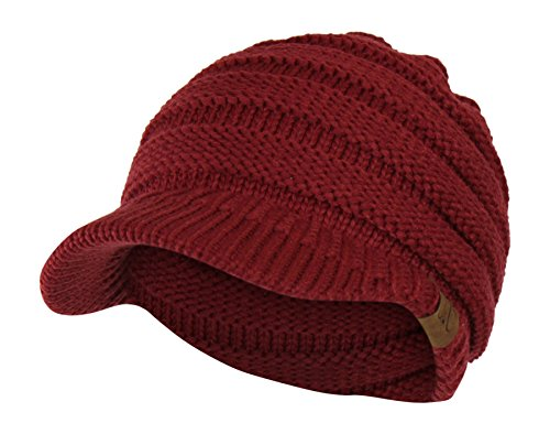 (Folie Co. Burgundy Cable Ribbed Knit Beanie Hat w/Visor Brim - Chunky Winter Skully)