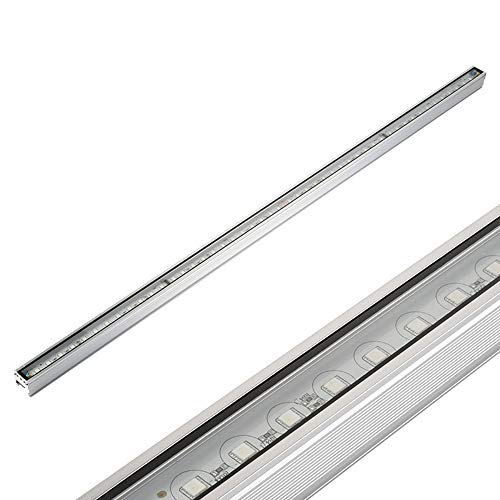 Julitech 110W LED Wall Washer Linear Light, IP66 Waterproof Wallwash Flood Light with Steel Glass Panel, Warm White/Natural Light, Silver, 100cm,Natural