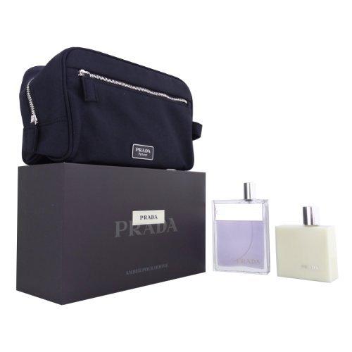 (PRADA Men Gift Set Eau de Toilette 3.4oz Spray + 3.4oz Aftershave BALM + POUCH)