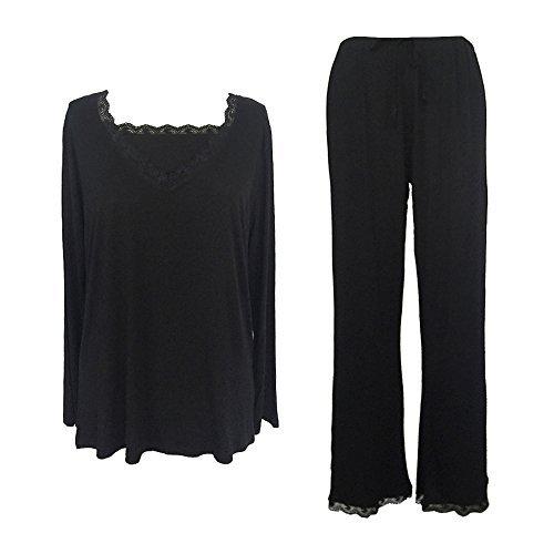 Sleepy Time Women's Bamboo Pajamas, Hot Flash Menopause Relief PJs, V Neck, S Black