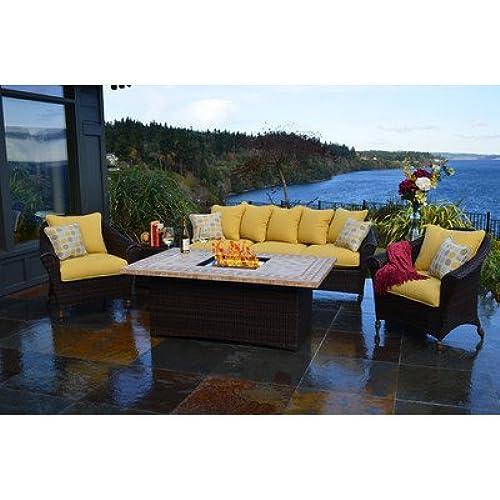 Beau Outdoor Innovations Bellamar 6 Piece All Weather Wicker Fire Conversation Furniture  Set