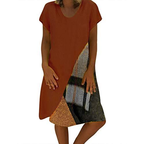 Nuewofally Women's Casual V Neck Dress Plus Size Color Block Sundress Paneled Printing Lounge Dress Knee-Length Skirts Coffee