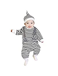 AmyDong Newborn Baby Stripe Boys Girls Clothes Tops Jumpsuit+Hat Set Outfits