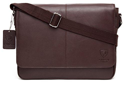 J WILSON London - Leather - Nylon 13' Laptop Designer Genuine Real Nappa...