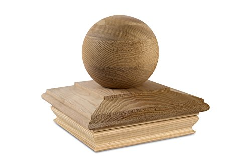 Woodway Flat Top Post Cap With Ball Accent 6x6  – Premium Cedar Wood Finial Post Cap, 6 x 6, Fits Up To 5.5 x 5.5 Inch Post, 1PC