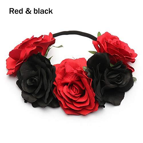 (Rose Flower Garland Bridal Headwear Wedding Hairband Elastic Wreath Headband (Size - Red black) )