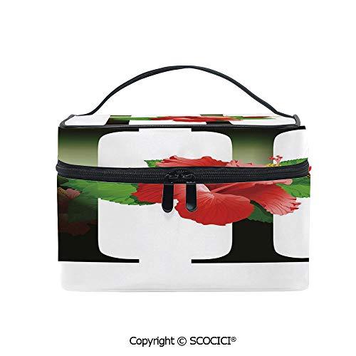 Printed Makeup Bag Organizer toiletry bag Hibiscus Design Green Leaves Color Flower Natural Pattern Print for Girls Ladies