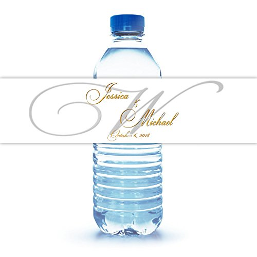 Personalized Water Bottle Label with Monogram for Wedding