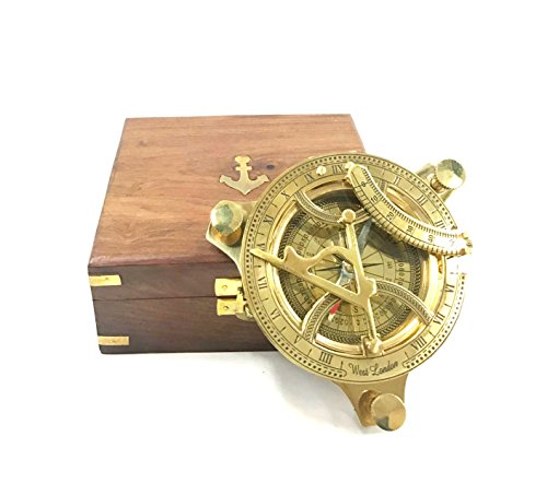 "4"" BRASS SUNDIAL COMPASS IN WOODEN BOX BY INDIA OVERSEAS TRADING CORP"