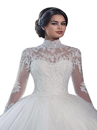 VERNASSA Ball Gown Long Sleeves Lace Bridal Gown Wedding Dresses, 14, White