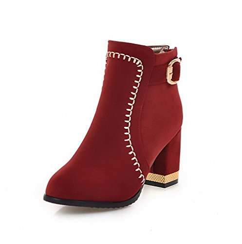 AgooLar Women's Imitated Suede High-Heels Round-Toe Solid Zipper Boots Red