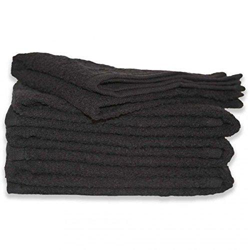 PREMIUM GRADE Black Salon Towels 100% Cotton 16''x27''. Hand, Salon, Spa, Nail, Sauna, Barber, Face, Golf Towels - Economy Bundle (1 Dozen/12 Pieces) by Imperial Front (Image #2)