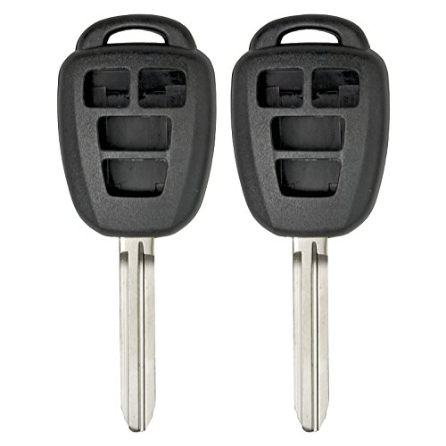 Keyless2Go New Uncut Replacement Remote Head Key Shell and 4 Button Pad for HYQ12BDM HYQ12BEL - Shell ONLY (2 Pack)