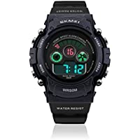 Kids Fashion Electronic Waterproof Sport Outdoor Wrist Watch with Digital LED Alarm Clock Stopwatch Calendar Date for Children Boy Running, 50M Water Resistant and Plastic Band - Blue
