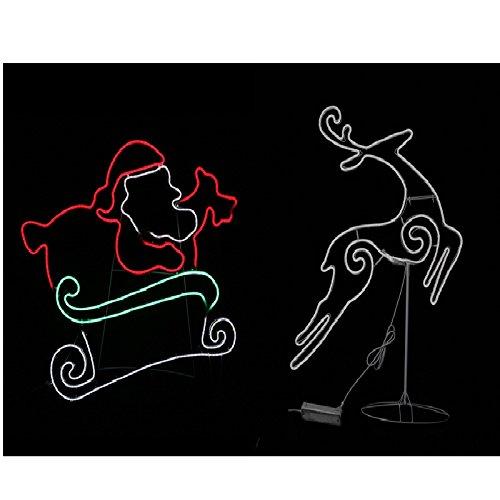 Star Brite Snxmsp0100 Star Bright Led Noen Santa In Sleigh With Reindeer ()