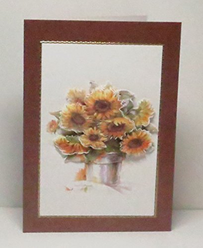 Handmade 3D Sunflowers in Flower Pot Blank Greeting Card with Gold Border, on Bronze Pearlescent Base, For Any Occasion - Limited (Greeting Flower Pot)