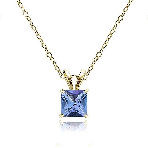 Bria Lou 14k Yellow Gold Tanzanite Gemstone 5mm Square-Cut Solitaire Pendant Necklace, 18'' by Bria Lou