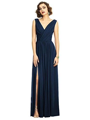 Dessy Style 2894 Floor Length Chiffon Shirred Skirt Formal Dress - Sleeveless Draped V-Neck - Midnight - 8