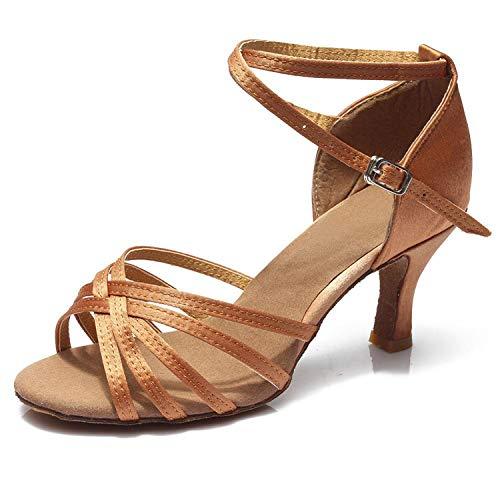SMALL FAT Women Professional Ballroom Dance Shoes Ladies Latin Dance Shoes Heeled 5CM/7CM,Brown 5CM,4.5