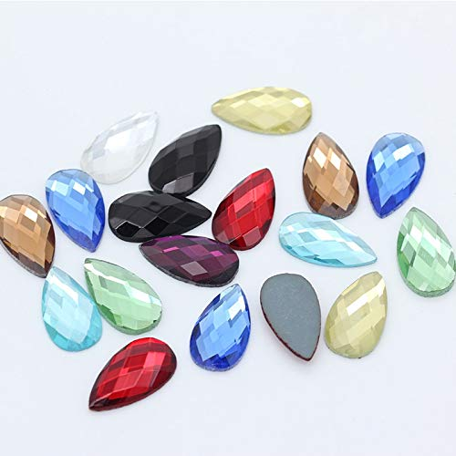 Pukido 30p 18x25mm Teardrop Color Glass Stone Foiled Flat Back Faceted Crystal Rhinestone Jewels Scrapbook Craft Headwear Shoes Clothes - (Size: lt Green)