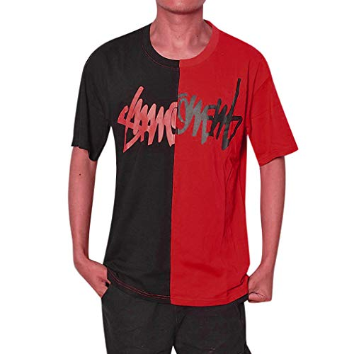 (NIKAIRALEY T-Shirt Unisex Casual Hip-Hop Explosive Scratch Printed T Shirts Summer Streetwear Cool Tees Top Blouse Pullover Red)