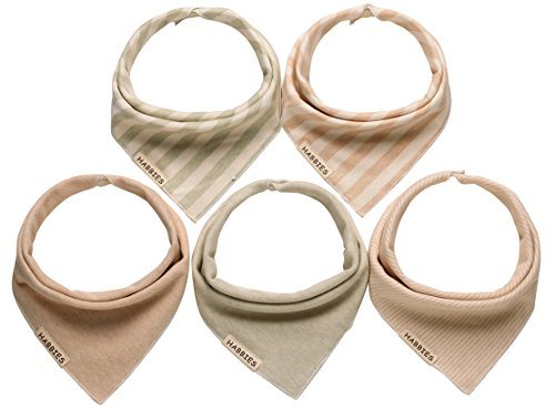 Habbies Baby Naturally Colored Organic Cotton Drool Reversible Triangle Bibs, Unisex 5-Pack Baby Gift Set (Naturally Colored)