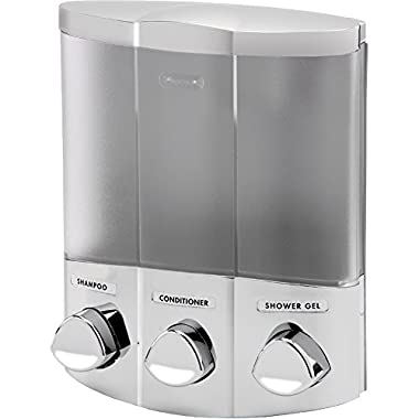 Euro Series TRIO Three Chamber Soap and Shower Dispenser, Satin Silver