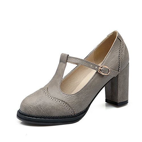 e Heels Round-Toe Gray Nappa Pumps-Shoes - 6.5 B(M) US ()