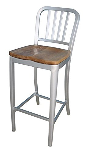 Alston Quality AC3013-30 Aluminum Dining Chair With Natural Wood Seat