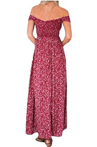 Parola Svago Oscillare Stampa donne Sexy Collare Coolred Spaccato Maxi Lungo Vestito Rosso XInfFOqIwx