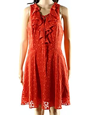 Guess Mecca Women's Medium Ruffle Front Sheath Dress Orange M