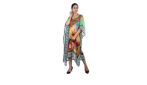 Bayside Barcelona Verde Caftan de Las Mujeres de la Cristales embellecidos Estampado de Flores Digital Kimono Ropa de Playa de Verano Vestido de Fiesta: ...