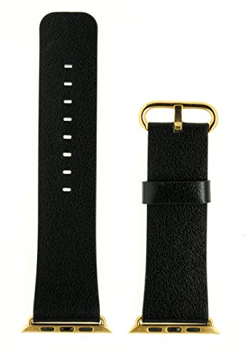 JSGJMY Apple Watch Band 38mm Genuine Leather Loop with Gold Metal Clasp for iWatch Series 2/Series 1/Edition/Sport(Black+Golden Buckle)