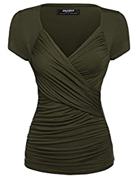 Zeagoo Women's Cross-front V Neck Ruched Cap Sleeve Blouse